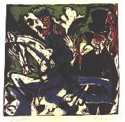 Ernst Ludwig Kirchner Schlemihls entcounter with small grey man oil painting on canvas