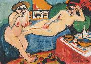 Ernst Ludwig Kirchner Zwei Akte auf blauem Sofa oil painting reproduction