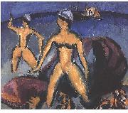 Ernst Ludwig Kirchner Two women at the sea oil painting reproduction