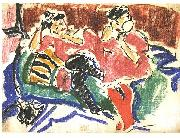 Two women at a couch