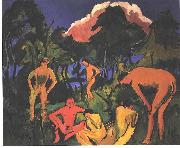 Ernst Ludwig Kirchner Nudes in the sun - Moritzburg oil painting reproduction
