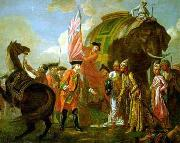 Lord Clive meeting with Mir Jafar at the Battle of Plassey in 1757