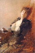 Franciszek zmurko Portrait of a woman with a fan and a cigarette. oil painting