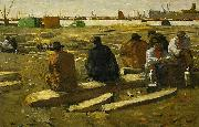 George Hendrik Breitner Lunch Break at the Building Site in the Van Diemenstraat in Amsterdam oil painting reproduction
