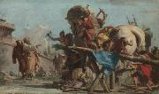 Giovanni Domenico Tiepolo Building of the Troyan Horse oil painting reproduction