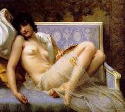 Guillaume Seignac Young-woman-on-a-settee oil painting reproduction