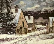 Gustave Courbet Dorfausgang im Winter oil painting reproduction