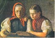 Hans Thoma Mutter und Schwester des Kunstlers oil painting reproduction