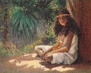 Helen Thomas Dranga Portrait of a Polynesian Girl oil painting on canvas