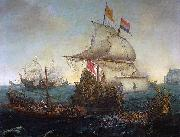 Hendrik Cornelisz. Vroom Dutch ships ramming Spanish galleys off the English coast, 3 October 1602 oil painting reproduction