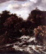 Norwegian Landscape with Waterfall