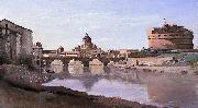 Jean-Baptiste-Camille Corot The Bridge and Castel Sant'Angelo with the Cuploa of St. Peter's oil painting reproduction