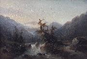 Johann Hermann Carmiencke A mountain stream oil painting artist