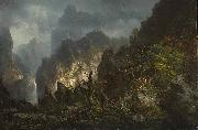 Johann Hermann Carmiencke Storm in the mountains oil painting artist