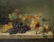 Johann Wilhelm Preyer nuts and a glass on a marble ledge oil painting reproduction