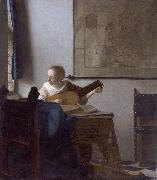 Woman with a lute., Johannes Vermeer