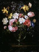 Juan de Arellano Clematis, a Tulip and other flowers in a Glass Vase on a wooden Ledge with a Butterfly oil painting artist