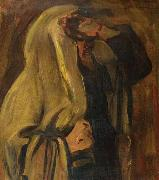 Leopold Kowalsky Jewish man wrapped in a prayer shawl oil painting