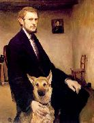Miroslav Kraljevic Selfportrait with a dog oil painting