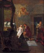 Nicolaes Knupfer Tobias and Sarah praying on their wedding night. oil painting