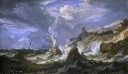 Pieter Meulener A ship wrecked in a storm off a rocky coast oil painting artist