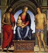 Madonna with Child Enthroned between Saints John the Baptist and Sebastian, Pietro Perugino