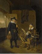 Interior with angler and man behind a spinning wheel.