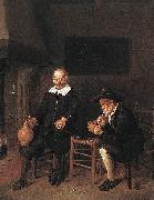 Interior with a smoking and a drinking man by a fire.