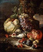 RUOPPOLO, Giovanni Battista Still Life with Fruit and Dead Birds in a Landscape oil painting