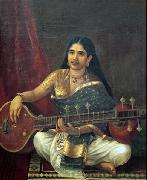 Woman with Veena, Raja Ravi Varma