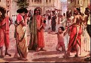 Harischandra in Distress, having lost his kingdom and all the wealth parting with his only son in an auction, Raja Ravi Varma
