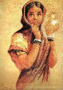 Raja Ravi Varma The Milkmaid oil painting