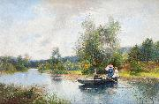 Severin Nilsson Rowing in a summer landscape oil painting