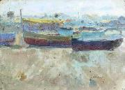 Seymour Joseph Guy Boats on the beach oil painting