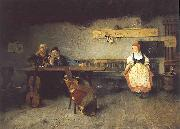 Simon Hollosy In the Tavern oil painting