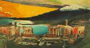 Tivadar Kosztka Csontvary Ruins of the Ancient theatre of Taormina oil painting
