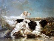 Verner Moore White Typical Verner Moore White hunt scene featuring dogs oil painting