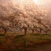 Typical Verner Moore White oil painting on canvas of apple blossoms