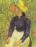 Young Peasant Woman with straw hat sitting in front of a wheat field, Vincent Van Gogh