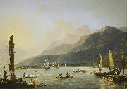 Hodges' painting of HMS Resolution and HMS Adventure in Matavai Bay, Tahiti