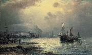 William J.Glackens Fishing vessels off Scarborough at dusk oil painting reproduction