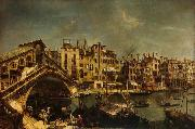 The Rialto Bridge from the Riva del Vin, Workshop of Michele Marieschi