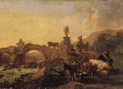 BERCHEM, Nicolaes Italian Landscape with a Bridge oil painting reproduction