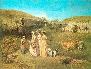 Courbet, Gustave The Young Ladies of the Village oil painting