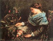 Courbet, Gustave The Sleeping Spinner oil painting