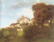 Courbet, Gustave The Houses of the Chateau D Ornans oil painting