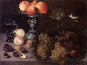 Still life of grapes on a pewter dish,together with peaches,nuts,a glass roemer and a silver tazza containing apples and pears,and a blue-tit, Georg Flegel
