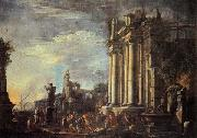 Giovanni Ghisolfi Landscape with Ruins and a Sacrificial Srene