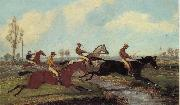 Henry Alken Jnr Over the Water,Past a Marker over the Ditch oil painting reproduction