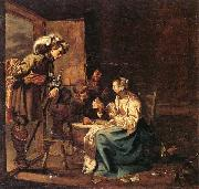 Interior with soldiers and a woman playing cards,an officer watching from a doorway